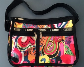 New LeSportsac Deluxe Everyday Bag Retired Psychedelic WILD Print