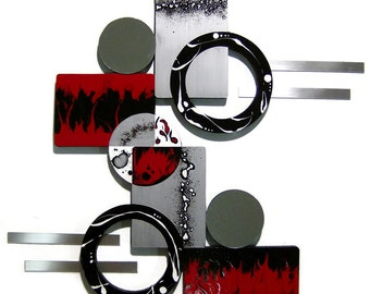 Designer Ruby Red Black Silver Modern Abstract Wall Sculptrure wood with Mirror & Metal 24x25