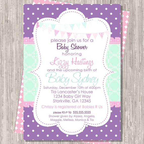 Baby Girl Shower Invite, Baby Shower Invitation Purple & Aqua 5x7 printable