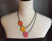 3 piece asymmetrical necklace pink orange yellow