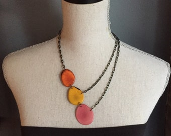 3 piece asymmetrical necklace pink orange yellow