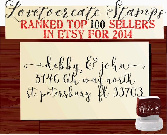 Calligraphy Handwriting Script Custom Return Address Stamp - Personalized SELF INKING Wedding Stationery Stamper - Style 1159C