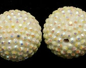 5-ct Off White/Cream Resin Rhinestone beads 26mm