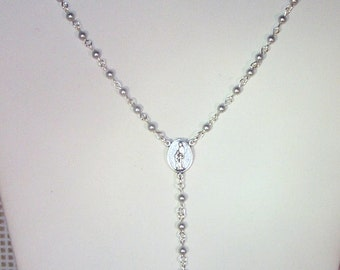 Swarovski Pearl Rosary Necklace - Custom Made - Choice of Pearl or Crystal Colors - Silver or Gold