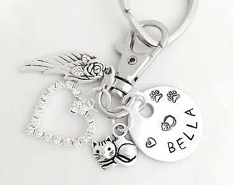Memorial Keyring, Memorial Keychain, Pet Memorial Jewelry, Angels Wing, Loss of Cat, Kitty, Pet - BELLA - You Build Yours - BIG SALE
