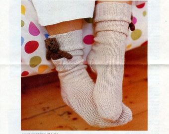 DIY Pocket Sock Buddies Knitting Pattern Kids Socks with Tiny Teddy Bear Friend in Pocket Childrens Socks Knitting Pattern Pocket Toys