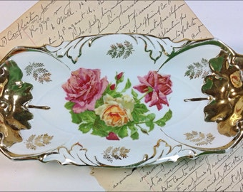 Antique rose pattern relish dish IPF Germany gold China