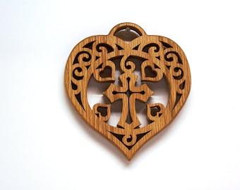 Cross In A Heart Wall Ornament, Heart Trivet, Wood Heart Plaque