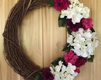 Hydrangea Wreath - Door Wreath - Front Door Wreath - Spring Wreath - Summer Wreath - Floral Wreath - Grapevine Wreath - Floral Summer Wreath