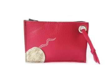 red leather wallet mouse