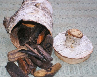 Lake Superior Driftwood Rune Set and Silver Birch Bark Casting Cup