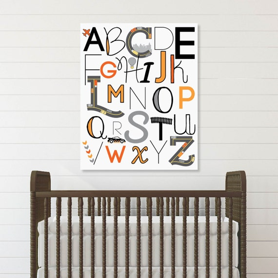 Car Nursery Wall Decor : Race car nursery decor abc wall art baby boy kids