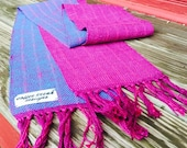 Handwoven Scarf Cast in Magenta and Blue