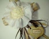 WALL CROSS -Beautiful ribbons paper and lace- Brown and cream - heart dangle says LOVE - love and faith decor