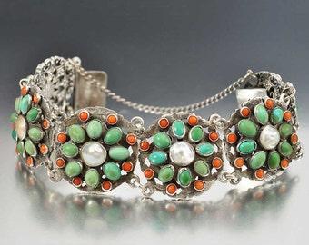 Antique Turquoise Bracelet, Coral Bracelet, Austro Hungarian Bracelet, Wide Silver Victorian Bracelet, Antique Jewelry, Pearl Bracelet