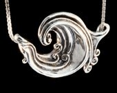Wave Necklace Silver Wave Jewelry Rip Curl Wave Pendant Wave Jewelry Boho Necklace Ocean Jewelry Beach Jewelry Silver Necklace