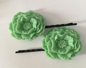 Mint Green Poppy Bobby Pin for Hair