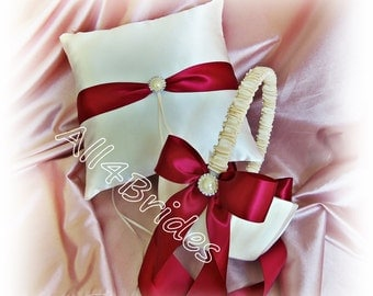 Burgundy Wedding Flower Girl Basket and Ring Bearer Pillow Set - Weddings Ceremony Decorations Ring Cushion and Basket Set