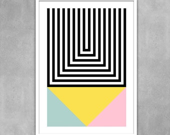 Geometric art poster abstract wall decor pastel kitchen art office art mid century modern interior design scandinavian  - Brutal 1 50 x 70cm