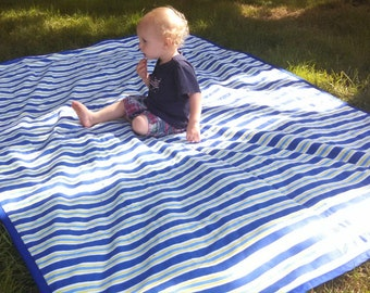 PICNIC BLANKET w/ Tote Bag (Baby Play Mat) - 60 x 87 - Blue Summer Stripes - Waterproof!