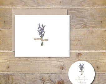 Thank You Cards, Thank You Card Set, Thank You Notes, Lavendar, Flowers, Floral, Recycled, Rustic, Wedding, Bridal Shower, Lavendar Garden