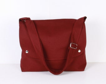 Men Messenger / Burgundy Canvas / Claret Red Lining / Adjustable strap / Women Messenger / Travel Bag