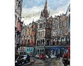 Edinburgh Scotland Victoria Street Old Town Fine Art Giclee Print Architecture Painting by Gwen Meyerson