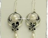 Sculptural Earrings,  sterling silver earrings, dangle drop pearl earrings,  bridal earrings, chandelier earrings, drop - Make a wish E2151A