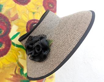 STYLISH TRAVEL SUN Visor...Sun Hat-- Cruise Visor --- Sun Visor---Sun Protection Hat....Ribbon Rose Pin....
