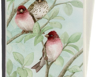 Finches in Bird Tree Greeting Card by Tracy Lizotte