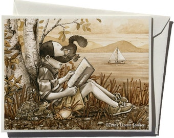 Boy Reading by the Bay Greeting Card by Tracy Lizotte