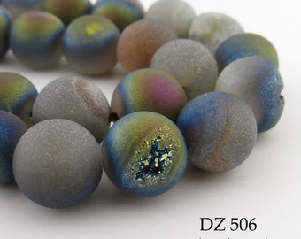 10mm Rainbow Grey Druzy Agate Geode Beads Matte Grey (DZ 506) 18 pcs BlueEchoBeads