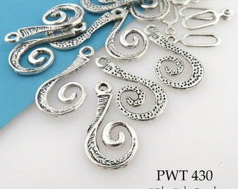 27mm Curled Spiral Pewter Clasp with Dots Antiqued Silver 27mm x 13mm (PWT 430) 6 sets BlueEchoBeads