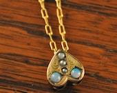 heart pendant, heart necklace, opal necklace, pearl necklace, antique necklace, heart slide pendant, unique necklace, gold necklace