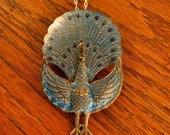 peacock necklace, vintage necklace, enamel necklace, blue necklace, big necklace, peacock pendant, silver necklace, unique necklace
