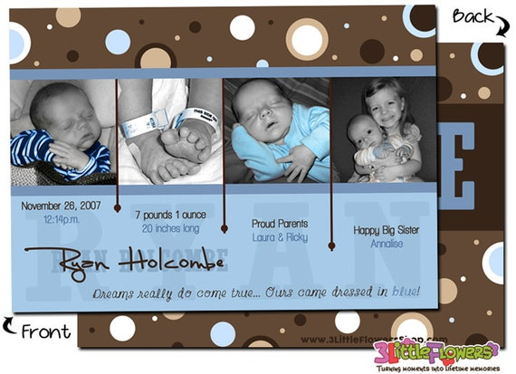 baby boy personalized photo birth announcement cards 5 x 7