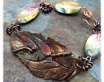 Real Copper Iridescent Leaf Bracelet, Foiled Lampwork Glass Beads, Statement, NC, Personalized Option, Copper, Artisan Jewelry