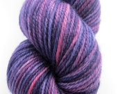 "DK Wool Yarn ""Eggplant"" - Hand Dyed DK Yarn, Knitting Yarn, Rug Yarn in purple, pink, burgundy - superwash wool, DK weight, 218 yards"