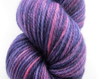 """DK Wool Yarn """"Eggplant"""" - Hand Dyed DK Yarn, Knitting Yarn, Rug Yarn in purple, pink, burgundy - superwash wool, DK weight, 218 yards"""