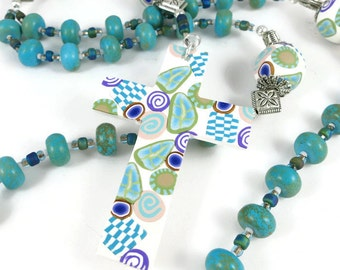 Anglican Prayer Beads Unisex Rosary Magnesite Rondelles Handmade Polymer Clay Beads Cross Protestant Spirituality & Religion Protestant Gift