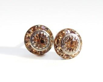 Topaz crystal stud earrings - November birthstone earrings - topaz earrings - crystal earrings - Swarovski earrings