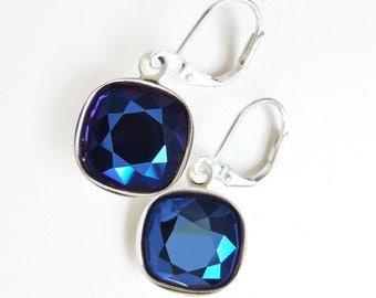 Metallic Blue Cushion Cut Crystal Earrings - Crystal Lever Back Earrings