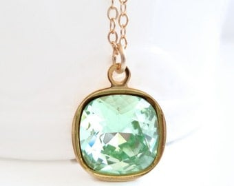 Mint green crystal necklace - chrysolite green - Swarovski crystal - light green crystal - crystal pendant - green and gold necklace