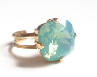 Mint opal square stone crystal ring - cushion cut crystal ring