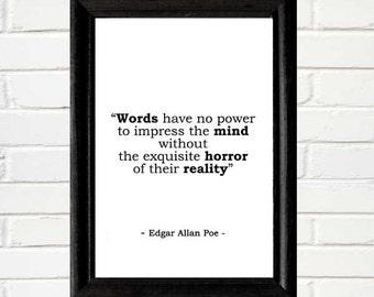 Edgar Allan Poe QUOTE art print wall decor Instant Digital Printable Download jpeg file writing writer literary quote horror literature