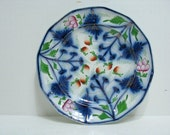 """Vintage Flow Blue Guady Welch Strawberry Plate Elsmore Forster 9.75"""" Ironstone"""