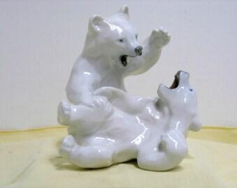 Vintage Royal Copenhagen polar Bears Fighting Playing Denmark Sculpture Statue