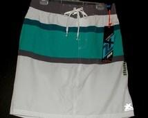 Ladies XL Swim Skirt Teal Stripes