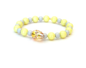 Yellow and Grey Swarovski Skull and Pearls Stretch Bracelet pastel edgy rocker glam Gasparilla pirate chic