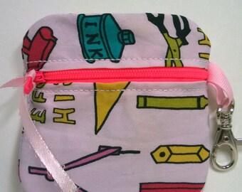Inhaler/Mouthguard School Supplies Soft Zipper Pouch, teacher, roller derby, sports, asthma